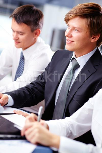 Foto stock: Alegre · negocios · tipo · vertical · tiro · feliz