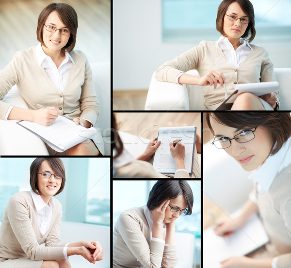 Aanvrager collage jonge mooie vrouwelijke poseren Stockfoto © pressmaster