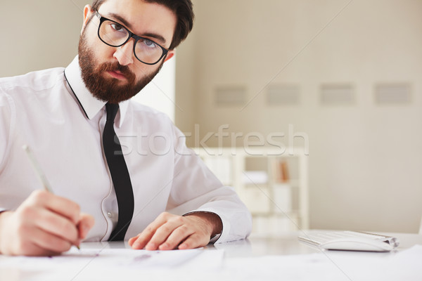 Business planning ernstig zakenman naar camera Stockfoto © pressmaster
