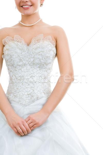 Ziemlich Braut Foto Hochzeitskleid isoliert weiß Stock foto © pressmaster