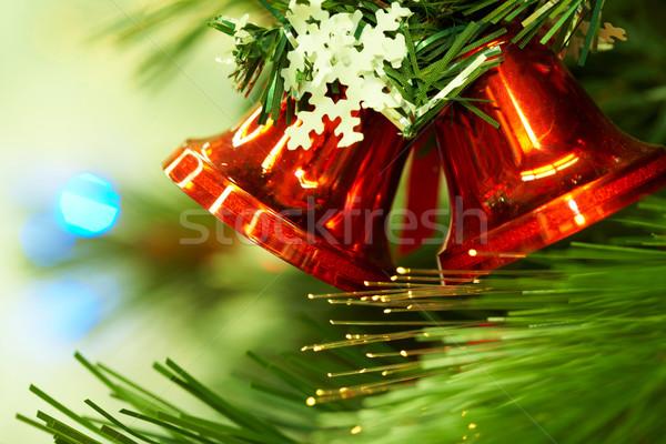 Rood speelgoed opknoping groene sparren Stockfoto © pressmaster