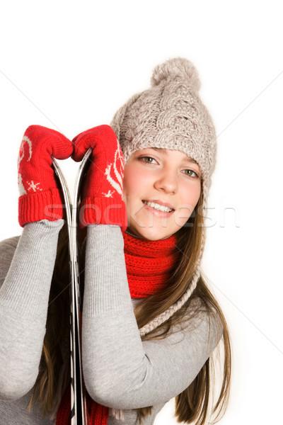 スキーヤー 画像 服 白 手 ストックフォト © pressmaster