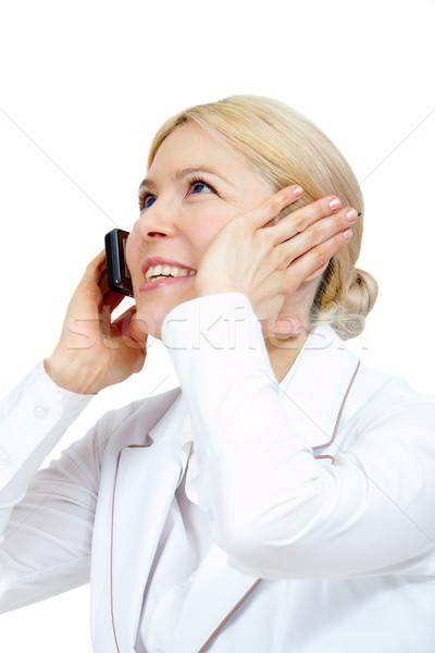 Zdjęcia stock: Wzywając · obraz · szczęśliwy · kobieta · telefonu · zadowolony