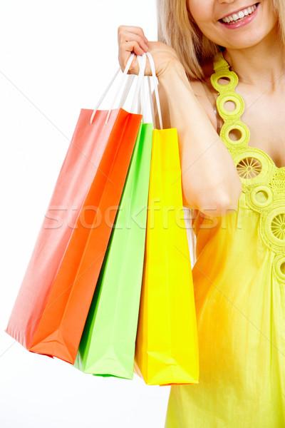 Zakupy obraz plastikowe torby izolacja Zdjęcia stock © pressmaster