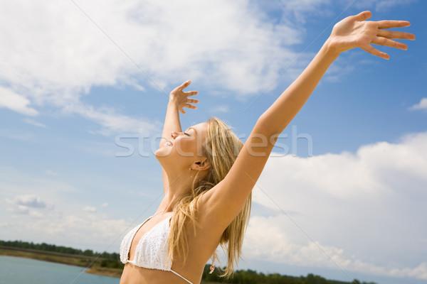 Stock fotó: öröm · élet · portré · csinos · szőke · nő · fehér