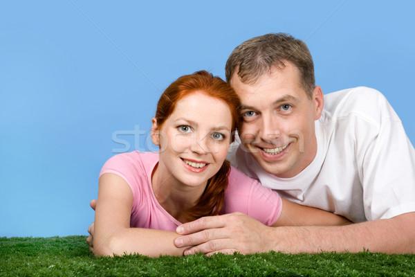 Stock fotó: Együttlét · fotó · jóképű · férfi · átkarol · feleség · férfi