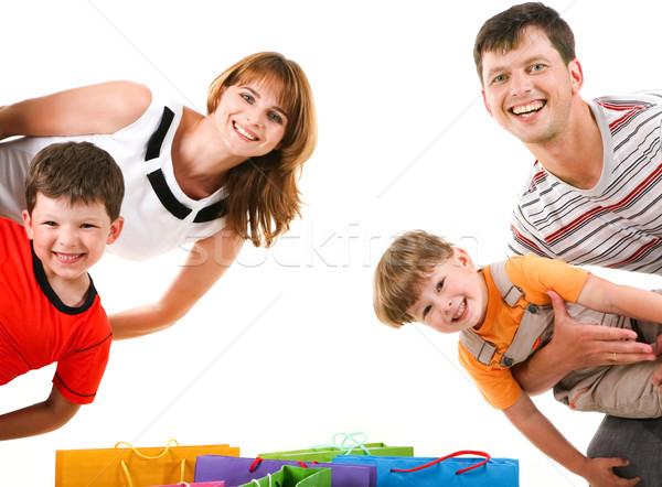 Stock photo: Joyful shoppers
