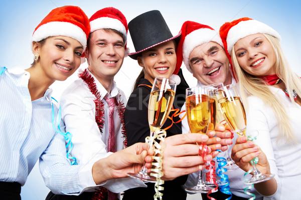 Celebración retrato inteligentes colegas flautas champán Foto stock © pressmaster