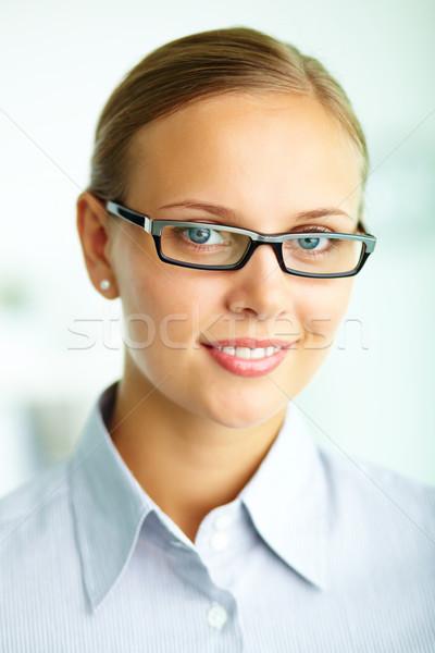 Сток-фото: Smart · деловая · женщина · портрет · элегантный · очки · глядя