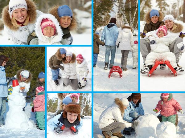 Foto stock: Familia · ocio · collage · feliz · ninos · padres