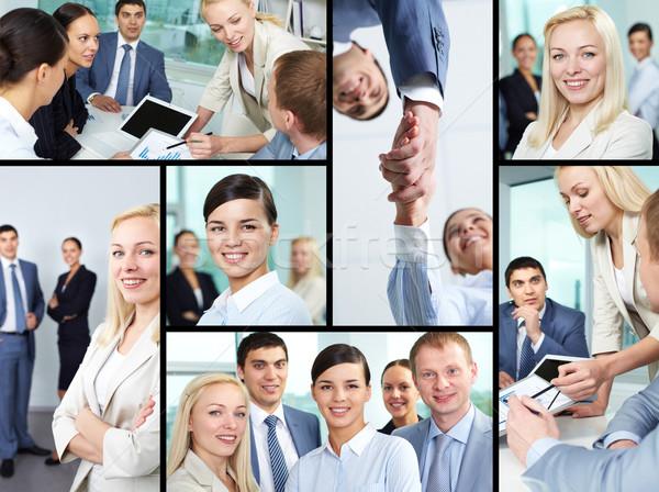 бизнеса атмосфера коллаж молодые деловые люди глядя Сток-фото © pressmaster