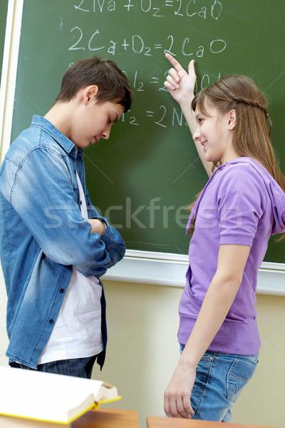 Açıklama formül zeki kız işaret tahta Stok fotoğraf © pressmaster