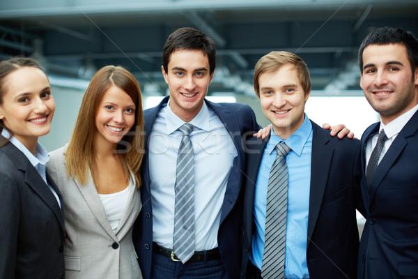 Stock fotó: üzleti · csoport · portré · öt · üzleti · partnerek · néz · kamera