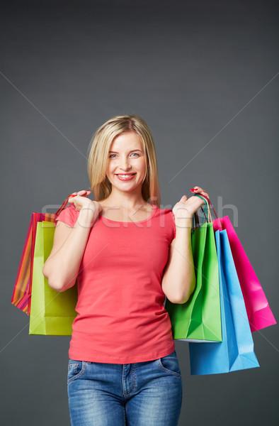 Müşteri izolasyon portre mutlu kadın renkli Stok fotoğraf © pressmaster