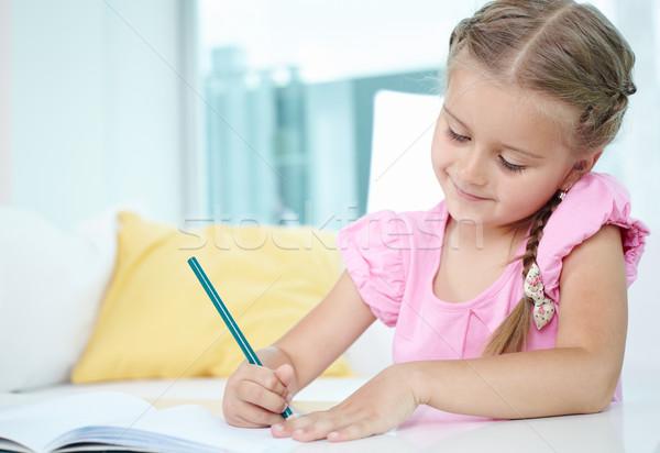 Menina crayon bonitinho little girl desenho escolas Foto stock © pressmaster