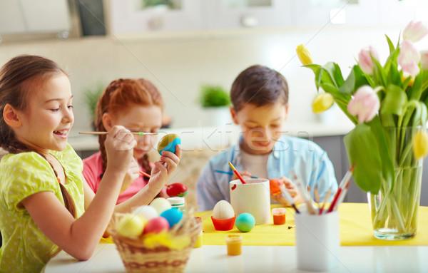 Stok fotoğraf: Paskalya · sınıf · okul · öncesi · paskalya · yumurtası · çiçek · mutlu