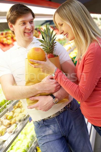 Stok fotoğraf: Satın · alma · meyve · portre · kadın · turuncu · alışveriş · çantası
