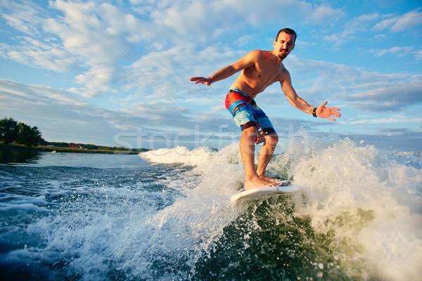 Zee avontuurlijk man water natuur Stockfoto © pressmaster