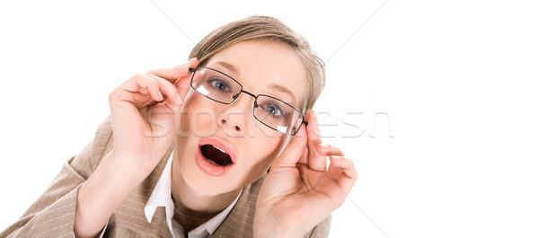 Wow portret kobieta okulary otwarte usta Zdjęcia stock © pressmaster