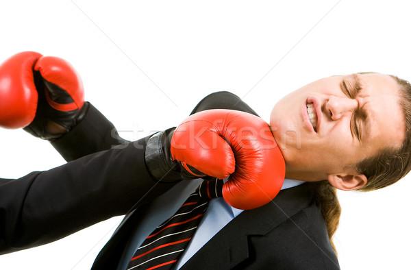 Aanval portret verslagen zakenman bokshandschoenen business Stockfoto © pressmaster
