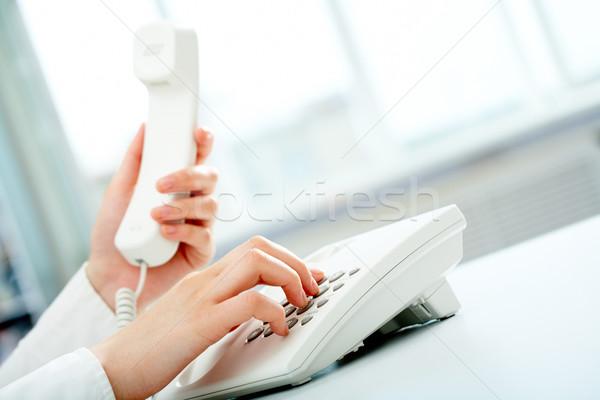 Сток-фото: набирать · номер · фото · женщины · рук · белый · телефон