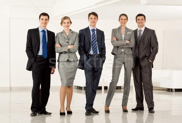 Stockfoto: Business · team · portret · permanente · rij · naar