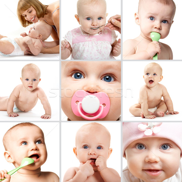 Infancia collage adorable bebés blanco nino Foto stock © pressmaster