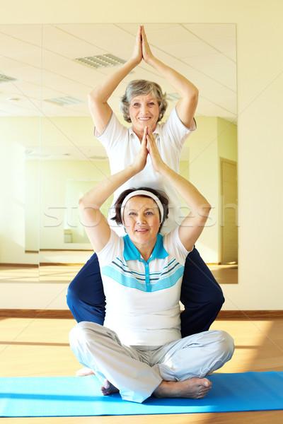 Foto stock: Yoga · práctica · retrato · dos · mujeres