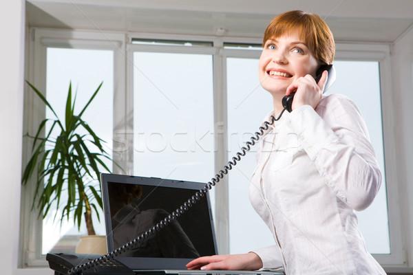 Foto stock: Trabajo · de · oficina · imagen · ejecutivo · gerente · llamando · teléfono