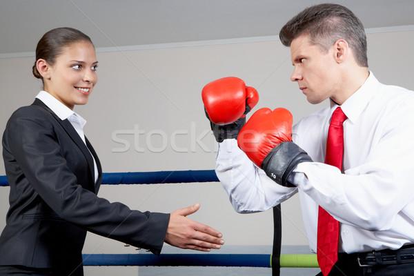 Ellenkezés portré agresszív üzletember boxkesztyűk harcol Stock fotó © pressmaster
