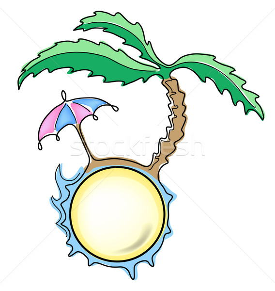 Guarda-chuva palma praia céu projeto arte Foto stock © pressmaster