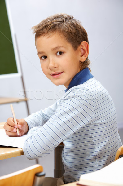 Ocupado chico retrato inteligentes lugar mirando Foto stock © pressmaster