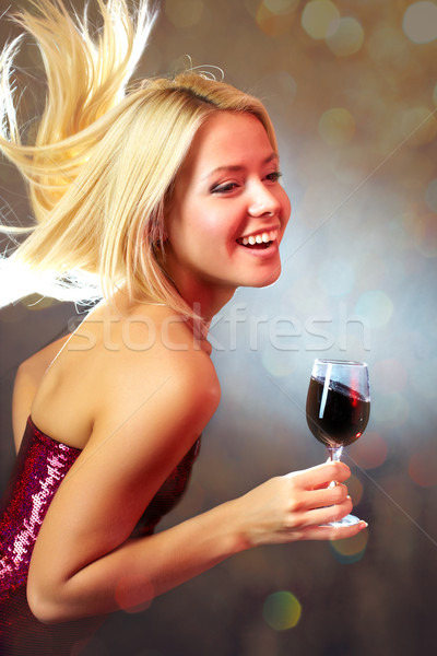 Derűs ünneplés portré fiatal boldog lány tánc Stock fotó © pressmaster