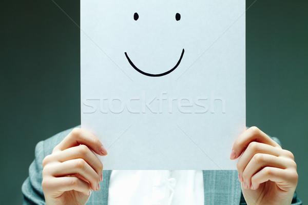 Positivité image Homme papier Photo stock © pressmaster