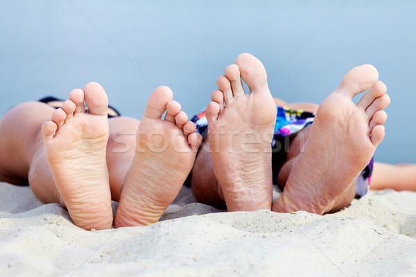 Stock fotó: Tinédzserek · napozás · homokos · tengerpart · férfi · nyár · bikini