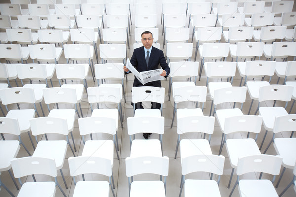 Stock photo: Businessman with newspaper