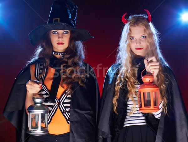 Witches with lanterns Stock photo © pressmaster