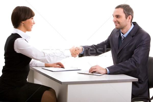 консенсус фото рукопожатием соглашение глядя Сток-фото © pressmaster