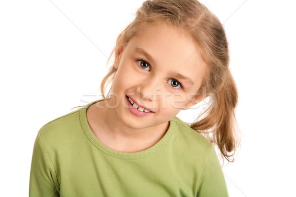 Foto d'archivio: Ritratto · sorridere · ragazza · guardando · fotocamera