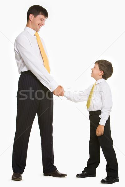 Portré apa fia áll néz egyéb fehér Stock fotó © pressmaster