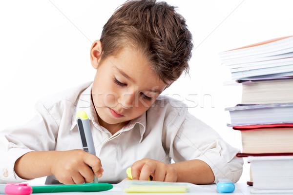 Foto stock: Diligente · criança · educação · pintura · menino · estudar