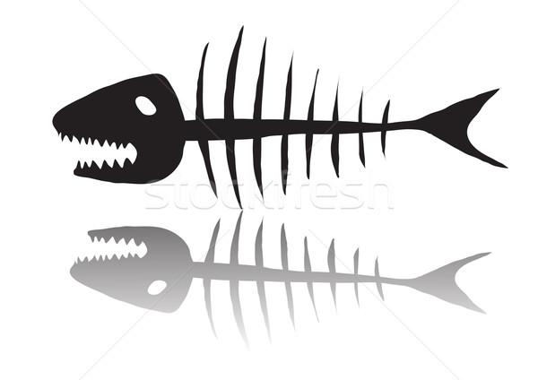 Iskelet Balık Siyah Gıda Boya Arka Plan Vektör