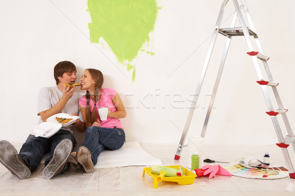 Pizza romper imagen cuidadoso tipo pieza Foto stock © pressmaster