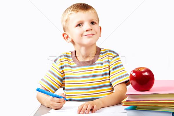 внимание умный школьник что-то книга Сток-фото © pressmaster