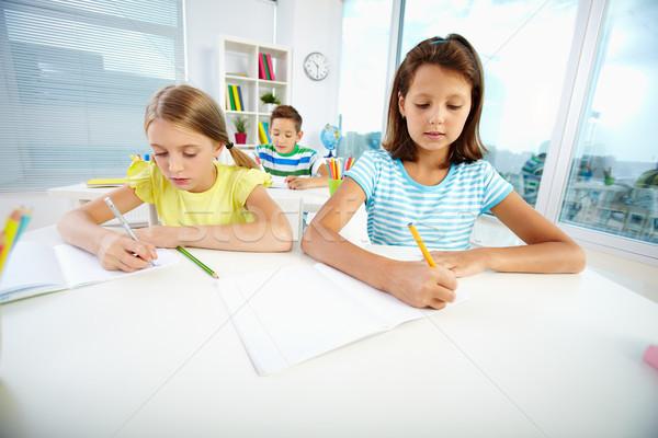 девочек урок портрет школьницы рисунок месте Сток-фото © pressmaster
