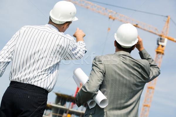 Stockfoto: Tonen · afbeelding · twee · werknemers · permanente · Maakt · een · reservekopie