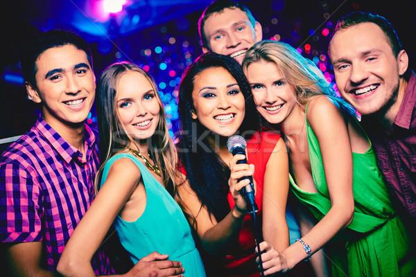 Stok fotoğraf: Karaoke · parti · portre · mutlu · kızlar