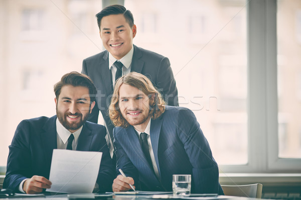 Entrepreneurs portrait trois souriant affaires affaires Photo stock © pressmaster