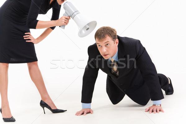 Foto stock: Abajo · negocios · imagen · empresario · traje · ejercicio