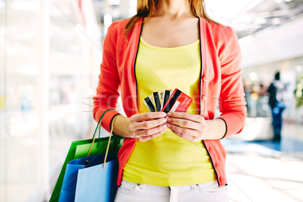 Customer with plastic cards Stock photo © pressmaster